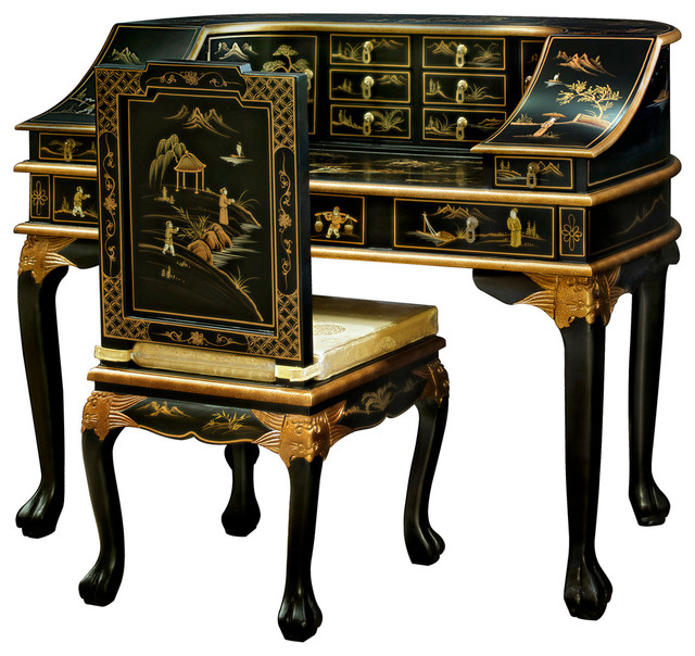 chinoiserie harpsichord style desk with chair black