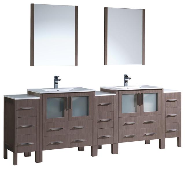 96 gray oak double sink bathroom vanity 3 side cabinets for 96 bathroom cabinets