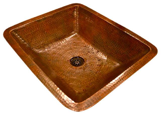 Rectangle Under Counter Copper Bathroom Sink Rustic Bathroom Sinks By Plfixtures