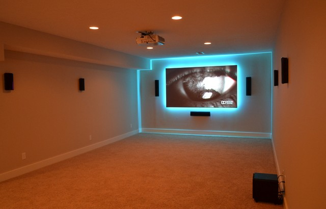 Fishers, IN - Basement Media Room - Modern - Basement - Indianapolis - by SYNC Technology ...