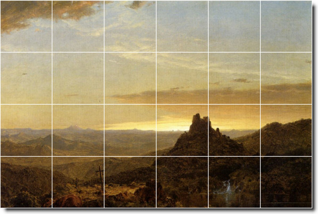 Cross in the wilderness tile mural by frederic church for Crossing the shallows tile mural