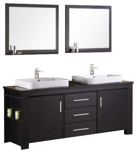Washington 72 double sink vanity set espresso modern for Bathroom vanities washington ave philadelphia