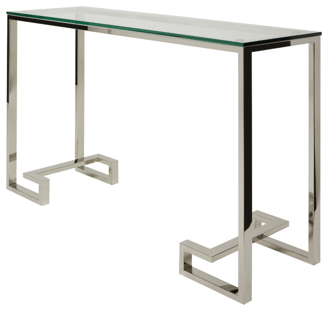 Tessa Console Sofa Table In Stainless Steel By Nuevo