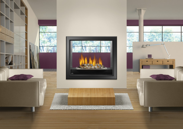 See thru fireplace hd81 napoleon 39 s large viewing area for Through fireplace