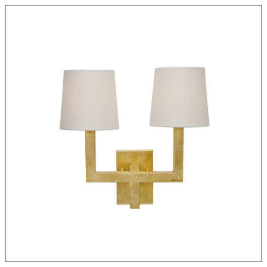 Worlds Away Kennedy 2 Arm Wall Sconce, Gold Leaf - Contemporary - Wall Sconces - by Matthew Izzo