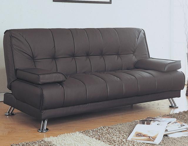 Brown Leather Look Clack Futon Modern Furniture