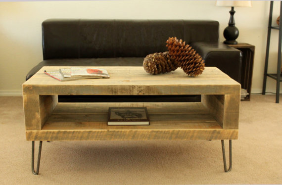 Reclaimed Wood Coffee Table Open Storage Area Modern