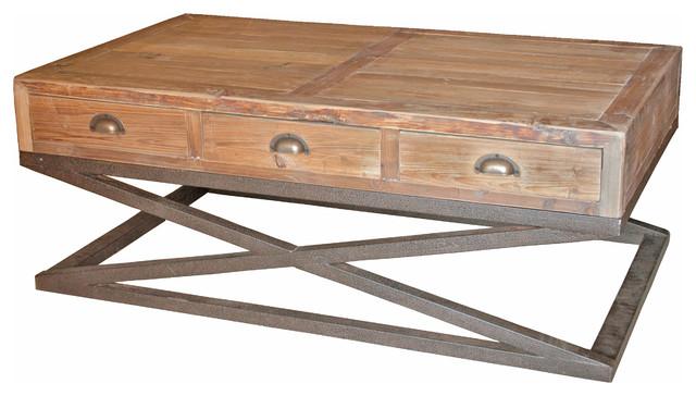 Hansen Industrial Loft Reclaimed Wood Metal Base Drawers
