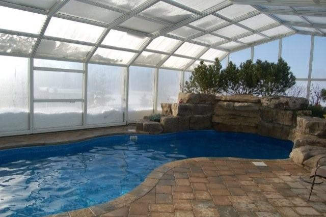 Inside pool enclosure winter modern hot tub and pool supplies toronto by covers in play for Swimming pool supplies toronto