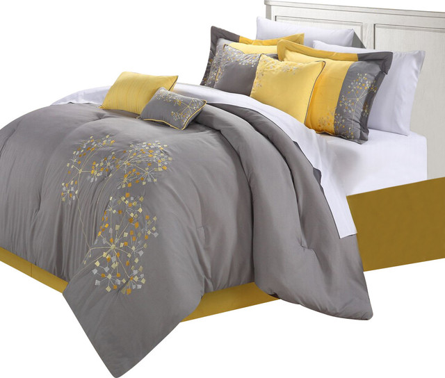 Pink floral yellow comforter bed in a bag set 12 piece - Pink and yellow comforter ...