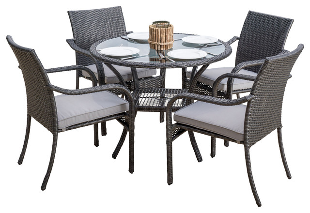 outdoor 5piece gray wicker dining set transitional outdoor dining sets