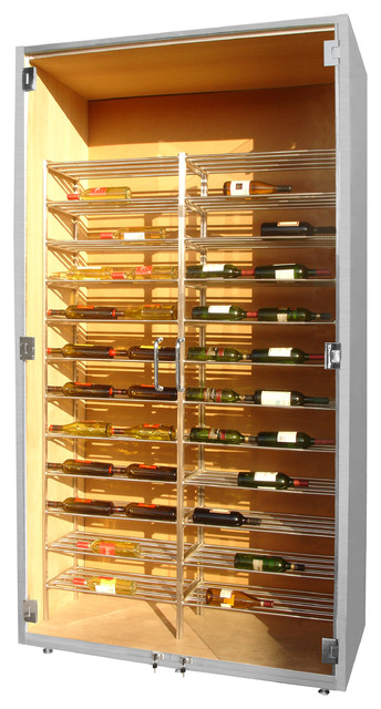 Custom Wine Cabinet with Glass Doors and Metal Racking by Vinotemp - Modern - Wine And Bar ...