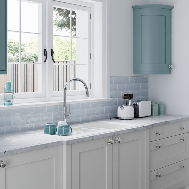 Teal Painted Kitchen Cabinets