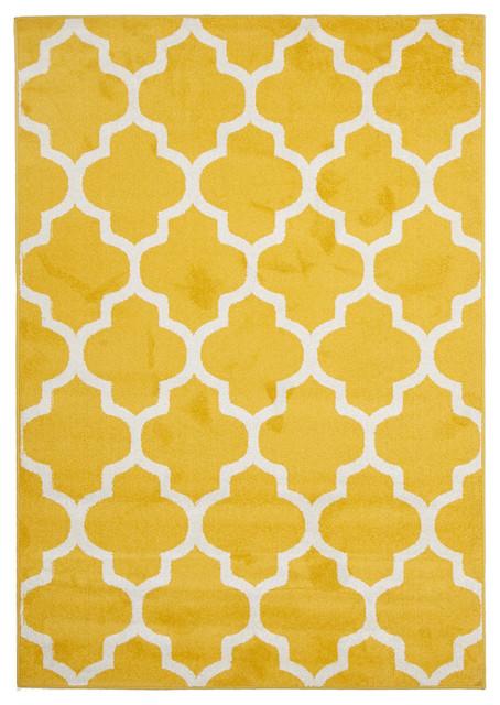 Lavardin Yellow Trellis Indoor Outdoor Rug Contemporary