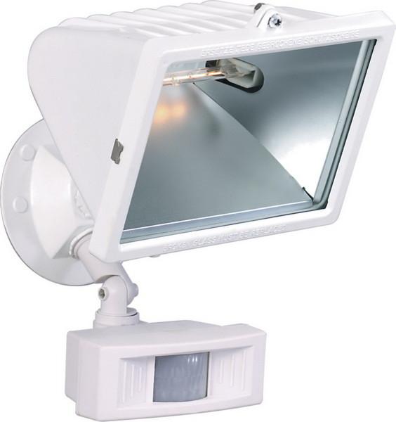 Exterior Motion Detector Halogen Flood Light White 12 Transitional