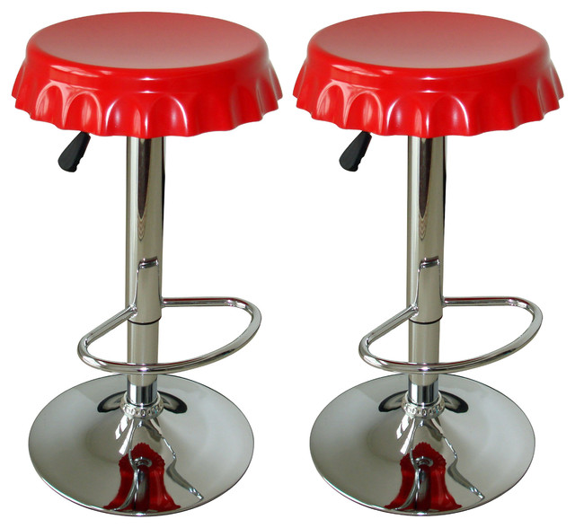 Amerihome 2 Piece Soda Cap Bar Stool Set Modern Bar