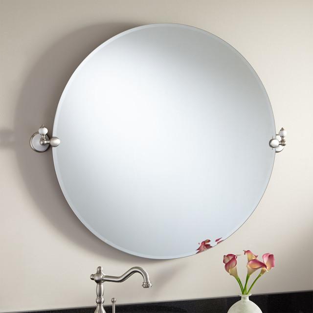 32 adelaide round tilting mirror modern bathroom mirrors for Round tilting bathroom mirror