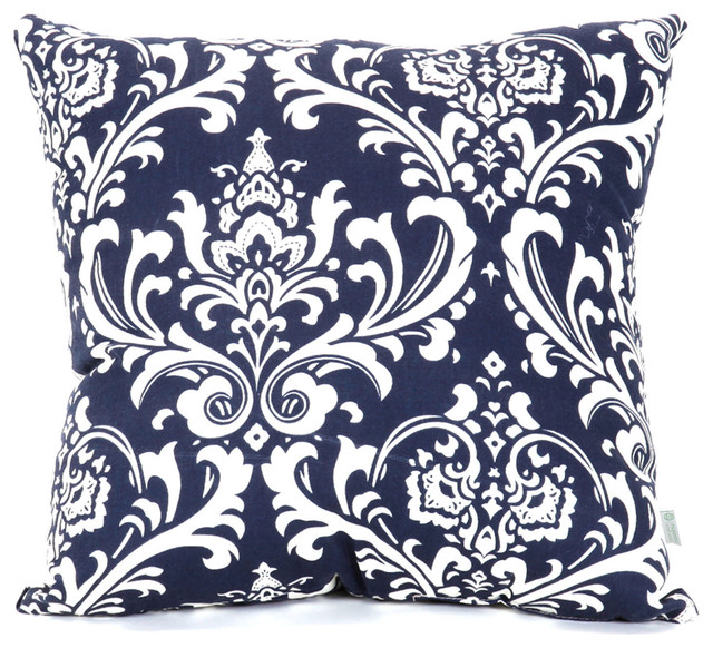 Indoor Navy and White French Quarter Large Pillow - Traditional - Decorative Pillows - by ...