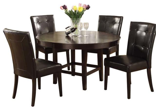 modus bossa 6 piece round dining room set in dark
