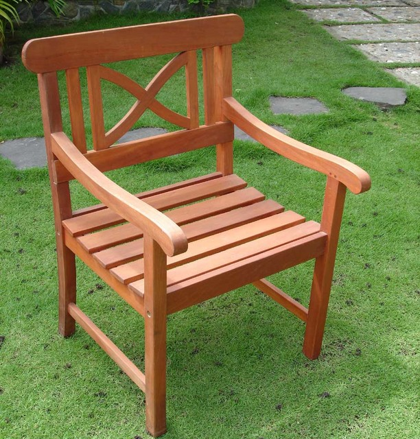 Outdoor wood arm chair traditional lounge chairs