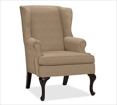 Gramercy upholstered wingback armchair washed linen for Traditional armchairs for living room