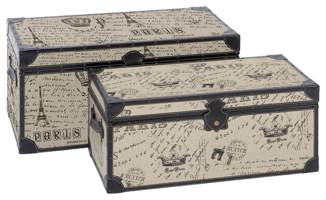 Set Of 2 Wood Square Storage Trunk Bo Paris Accent Decor Traditional Decorative Trunks