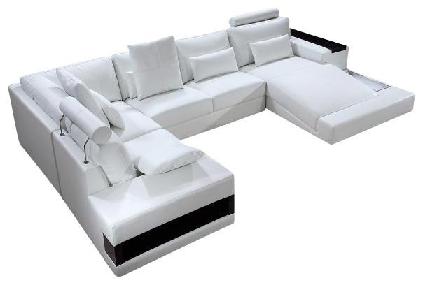 Diamond White Top Grain Leather Sectional Sofa modern sectional sofas