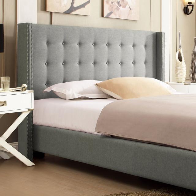 Williamsburg Beige Linen Bed In King