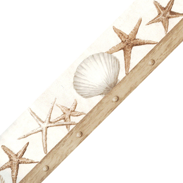 nautical seashells starfish prepasted wall border roll contemporary wallpaper by obedding. Black Bedroom Furniture Sets. Home Design Ideas