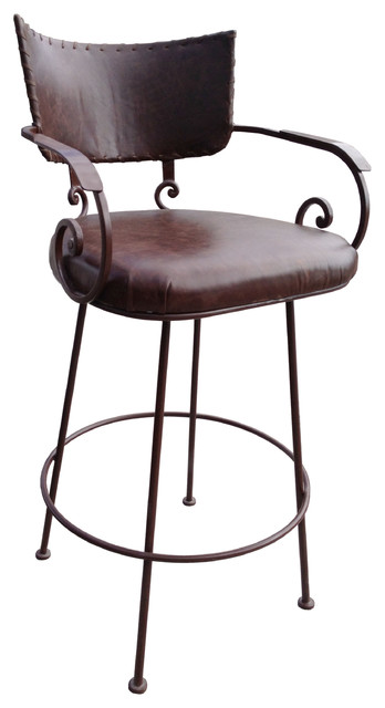 Chamizal Wrought Iron Stool Leather Southwestern Bar