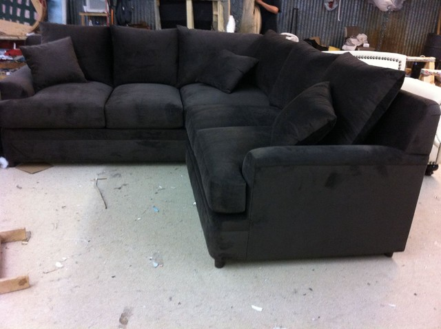 blue tufted sectional