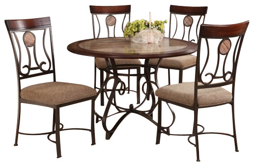 5 Piece Barrie Collection Round Faux Marble Top And Wood Trim Edge Table Set Traditional