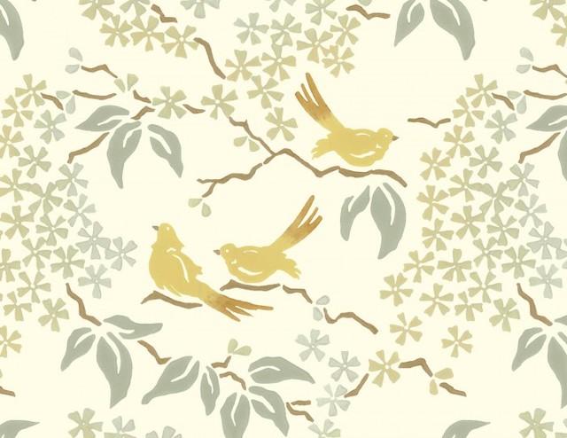 Birds wallpaper pale yellow contemporary wallpaper for Gold bird wallpaper