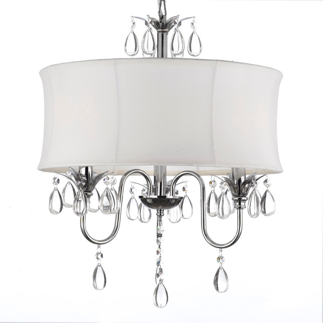 Gallery Crystal Three Light Chandelier With Large White Shade Contemporary Chandeliers By