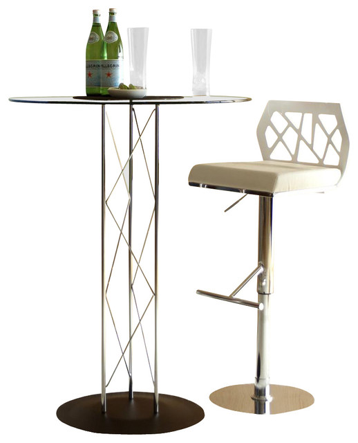 Trave 3 Pc Chrome & Glass Bar Table & White Stools Set