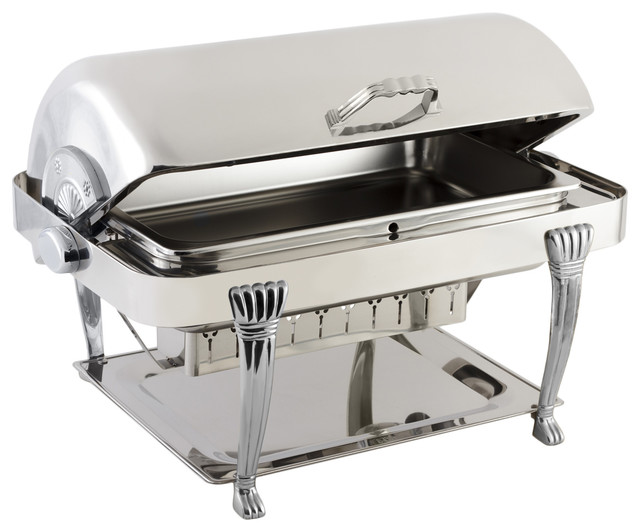 Stainless Steel Rectangular Chafer With Aurora Legs and Chrome Trim - Traditional - Chafing ...