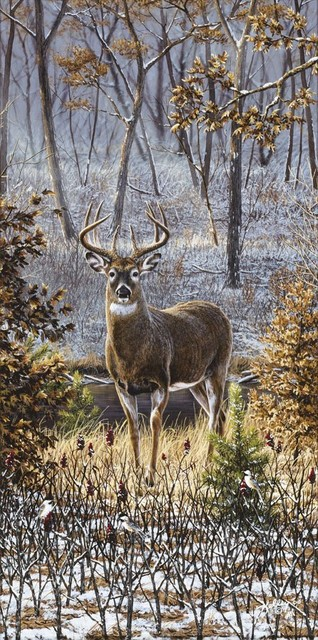 Whitetail and chickadees wall mural contemporary wallpaper for Deer wall mural