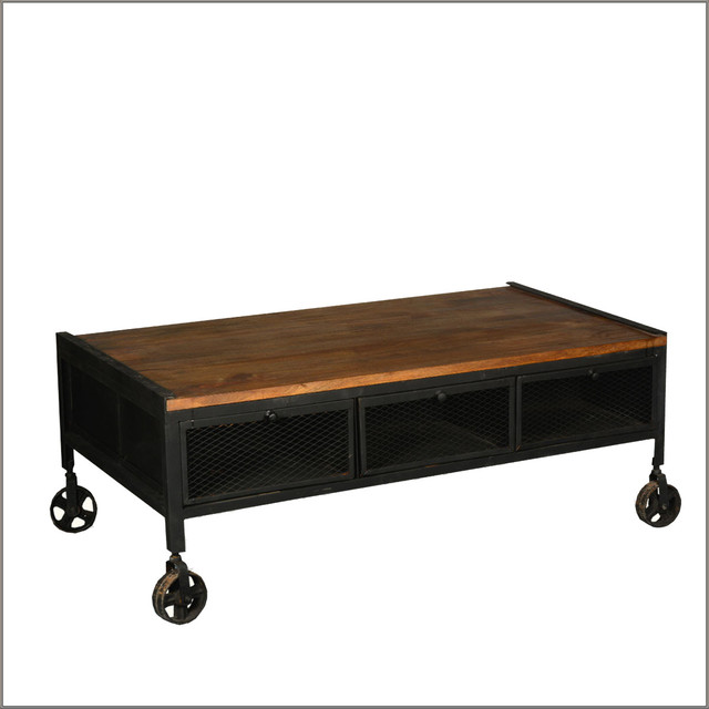 Industrial mango wood iron rolling coffee table w for Rustic coffee table with drawers