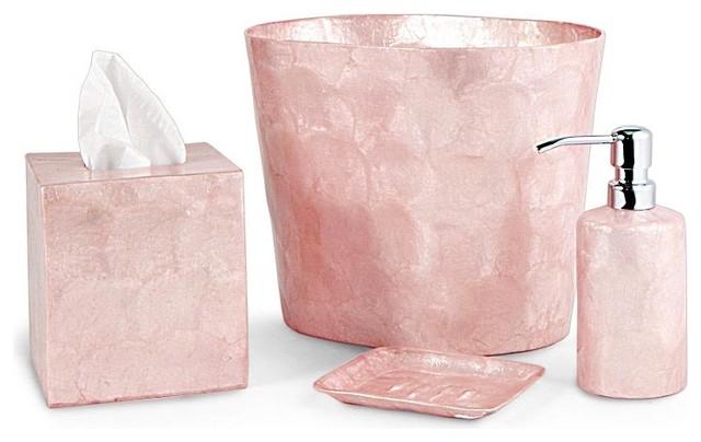 Pink capiz bathroom accessories contemporary bathroom for Bathroom decor pink
