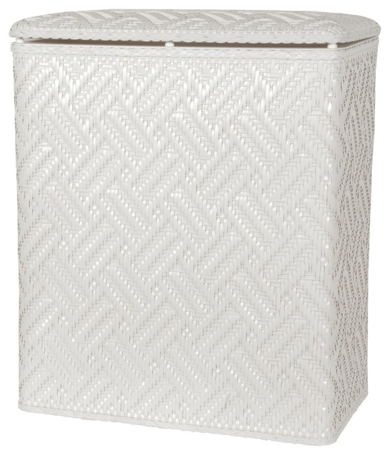 Lamont home apollo snag proof wicker upright laundry hamper white contemporary hampers by - White wicker clothes hamper ...