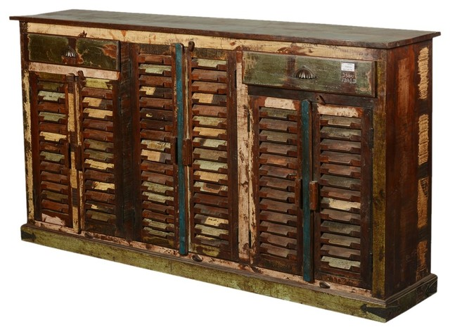 Reclaimed Wood Rustic Shutter Doors Storage Cabinet Sideboard - Rustic - Buffets And Sideboards ...