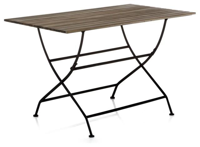 Montego table pliante en fer forg et acacia contemporain table de jardin par alin a - Mobilier jardin en fer saint etienne ...