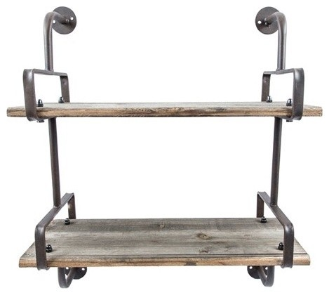 Industrial 2-Tier Wood Wall Shelf - Rustic - Display And Wall Shelves - by Twinkle Twinkle ...