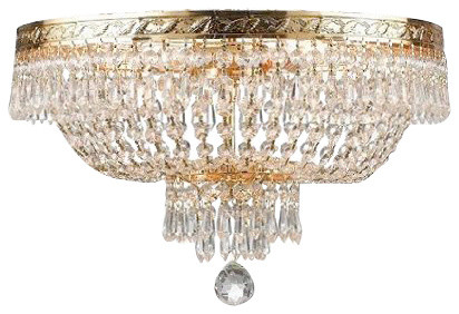 French Empire Crystal Plush Ceiling Chandelier With 4 Light
