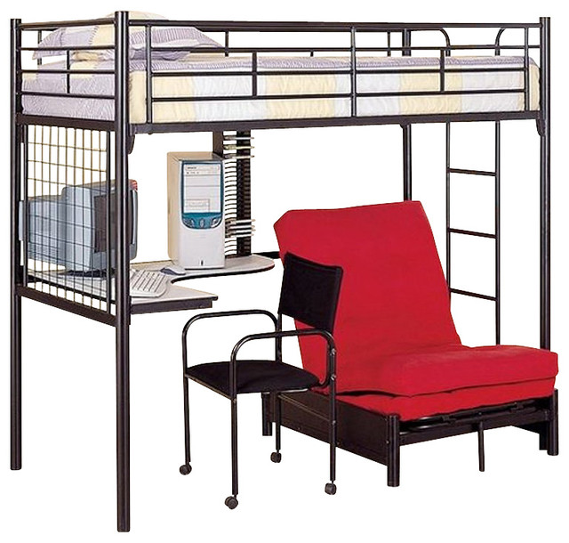 futon metal bunk bed with desk in black finish transitional bunk beds