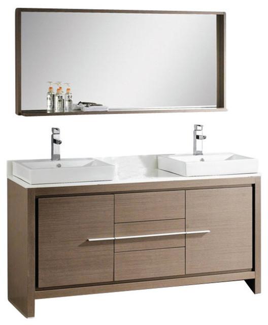 60 Inch Double Sink Bath Vanity in Gray Oak, Gray Oak ...
