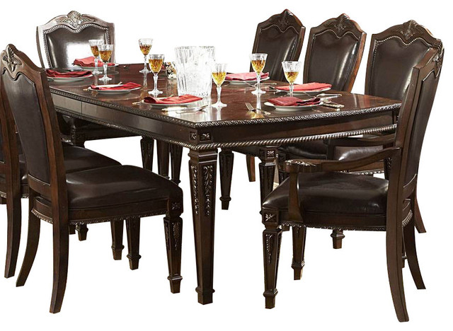 palace 8 piece dining room set in brown cherry traditional dining sets