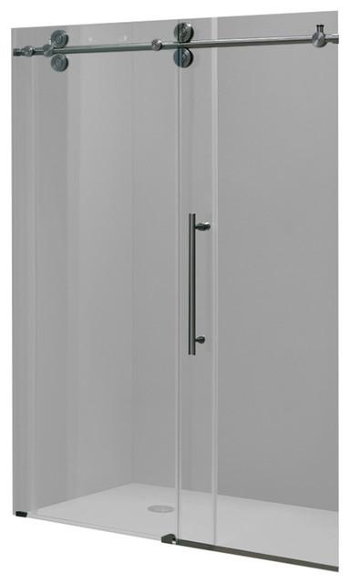vigo elan 52 quot frameless shower door clear glass and stainless steel hardware modern tub and