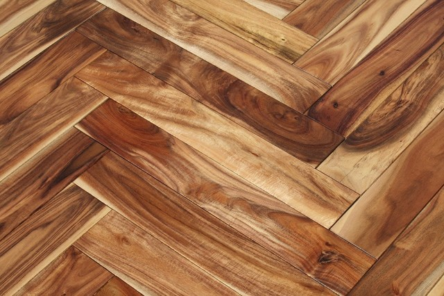 "Acacia Herringbone Hardwood Floors- Samples 8""x3"" - Traditional - Hardwood Flooring - by Unique ..."