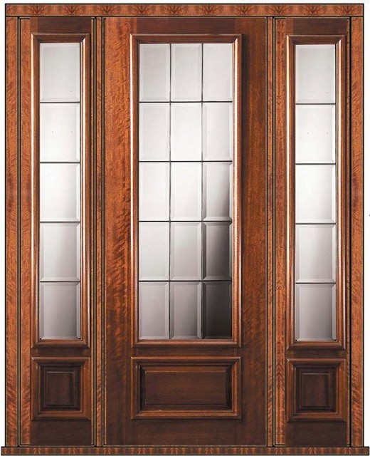 Prehung french side lights door 96 mahogany french 3 4 for Prehung exterior french doors